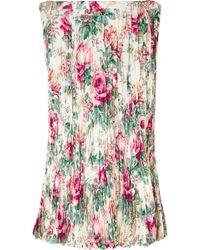 Junya Watanabe - Floral-print Plissé-crepe Midi Skirt - Lyst