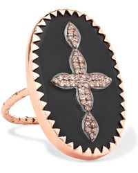 Pascale Monvoisin - Bowie N°3 9-karat Rose Gold, Sterling Silver, Bakelite And Diamond Ring - Lyst