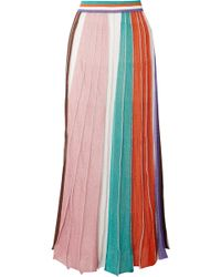 Missoni - Pleated Striped Metallic Stretch-knit Maxi Skirt - Lyst