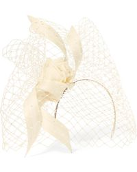 Philip Treacy - Crystal-embellished Mesh, Satin And Buntal Straw Headpiece - Lyst