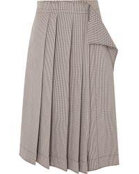Cedric Charlier - Pleated Plaid Cotton-blend Midi Skirt - Lyst