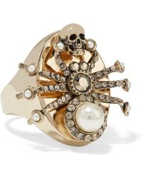 Alexander McQueen - Gold-plated, Swarovski Crystal And Faux Pearl Ring - Lyst
