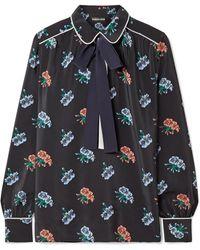 0371fe193ea8ea Markus Lupfer - Carmen Pussy-bow Floral-print Silk Crepe De Chine Blouse -