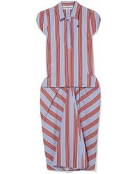 Carven - Striped Cotton-poplin Midi Dress - Lyst