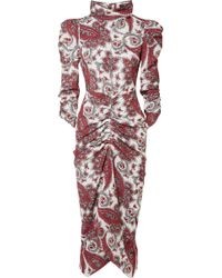Isabel Marant - Tizy Draped Printed Crepe De Chine Midi Dress - Lyst