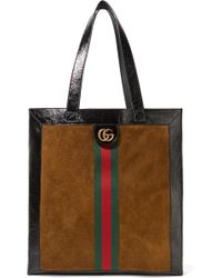 Gucci - Ophidia Medium Patent Leather-trimmed Suede Tote - Lyst