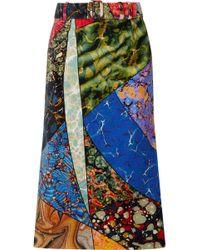 Rosie Assoulin - Belted Printed Cotton-velvet Midi Skirt - Lyst