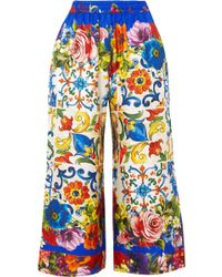 Dolce & Gabbana - Cropped Printed Silk-twill Wide-leg Pants - Lyst