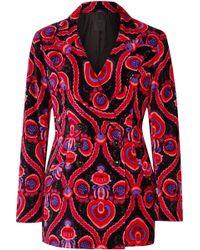 Anna Sui - Arabesque Double-breasted Printed Cotton-velvet Blazer - Lyst