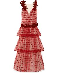 Rodarte - Velvet-trimmed Appliquéd Layered Tulle Gown - Lyst