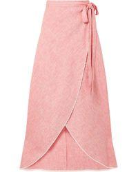 Miguelina - Ballerina Crochet-trimmed Linen Wrap Maxi Skirt - Lyst