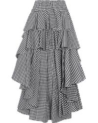 Caroline Constas - Giulia Asymmetric Ruffled Gingham Cotton Skirt - Lyst