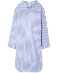 Balenciaga - Oversized Striped Cotton-poplin Dress - Lyst