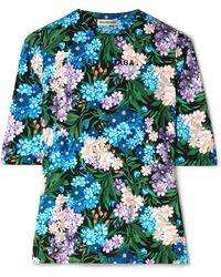 Balenciaga - Floral-print Stretch-jersey Top - Lyst