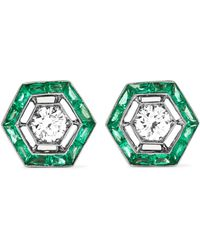 Fred Leighton - Collection 18-karat White Gold, Emerald And Diamond Earrings - Lyst