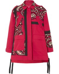 RED Valentino - Oversized Embroidered Cotton-twill Jacket Red It36 - Lyst