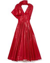 CALVIN KLEIN 205W39NYC - Bow-detailed Vinyl Midi Dress - Lyst