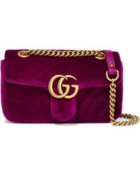 218d36f04bc Gucci Gg Marmont Matelassé Velvet And Leather Belt Bag in Pink - Lyst