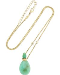 Jacquie Aiche - 14-karat Gold, Chrysoprase And Diamond Necklace - Lyst
