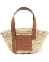 Loewe - Small Leather-trimmed Woven Raffia Tote - Lyst