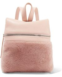 Kara - Small Textured-leather And Shearling Backpack - Lyst