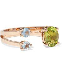 Delfina Delettrez - 18-karat Rose Gold, Peridot And Aquamarine Ring - Lyst