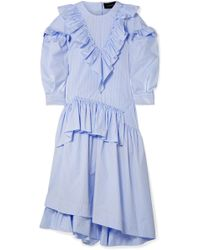 Simone Rocha - Asymmetric Ruffled Striped Cotton-poplin Midi Dress - Lyst