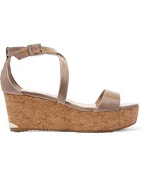 Jimmy Choo - Portia 70 Patent-leather Wedge Sandals - Lyst