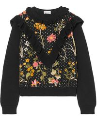 RED Valentino - Ruffled Floral-embroidered Cotton Sweater - Lyst