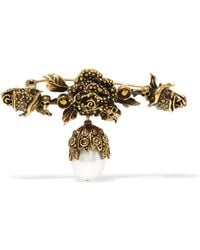 Alexander McQueen - Gold-plated Faux Pearl Brooch - Lyst