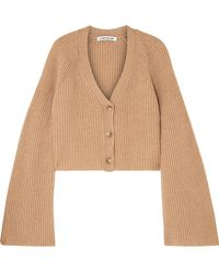 Elizabeth and James - Cabot Cropped Ribbed Merino Wool And Cashmere-blend Cardigan - Lyst
