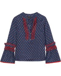 J.Crew | Ludwig Embroidered Printed Cotton And Silk-blend Blouse | Lyst