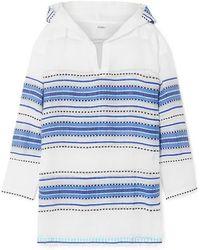 lemlem - + Net Sustain Welela Fringed Striped Cotton-blend Gauze Hoodie - Lyst