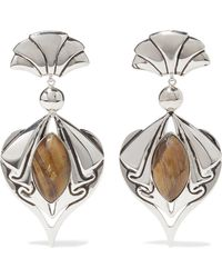 Etro - Silver-tone Tiger Eye Clip Earrings - Lyst