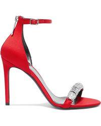 CALVIN KLEIN 205W39NYC - Camelle Crystal-embellished Satin Sandals - Lyst