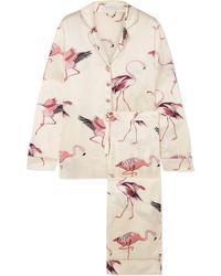 Olivia Von Halle - Lila Printed Silk-satin Pajama Set - Lyst