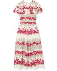 RED Valentino Ruffled Floral-print Crepe De Chine Midi Dress - Multicolor