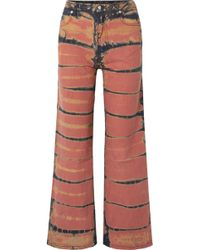 Eckhaus Latta - Cropped Tie-dyed High-rise Wide-leg Jeans - Lyst