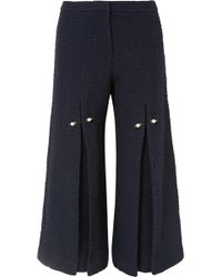 Mother Of Pearl - Bennie Faux Pearl-embellished Pleated Cotton-tweed Wide-leg Pants - Lyst
