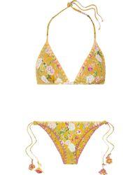 Anjuna - Nina Reversible Crochet-trimmed Printed Triangle Bikini - Lyst