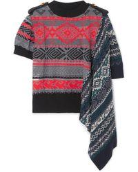 Sacai - Asymmetric Paneled Cotton-blend Jacquard Sweater - Lyst