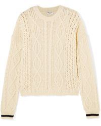 Saint Laurent - Cable-knit Wool Sweater - Lyst