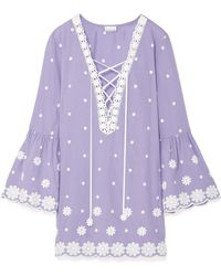 Miguelina - Laure Embroidered Cotton-voile Mini Dress - Lyst