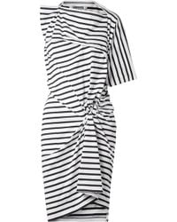 Junya Watanabe - Asymmetric Gathered Striped Cotton Dress - Lyst