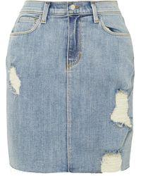L'Agence - The Manuela Distressed Stretch-denim Skirt - Lyst