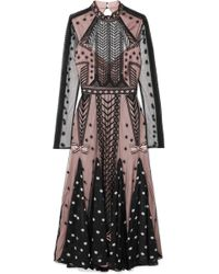 Temperley London - Storm Embroidered Tulle And Printed Georgette Dress - Lyst