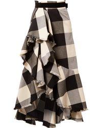 Johanna Ortiz - Asymmetric Frayed Ruffled Gingham Cotton-blend Midi Skirt - Lyst