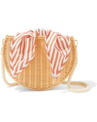 Kayu - Dylan Wicker And Striped Cotton-canvas Shoulder Bag - Lyst