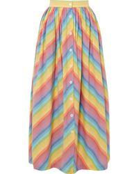 MDS Stripes - Striped Cotton-poplin Midi Skirt - Lyst