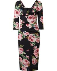 Dolce & Gabbana - Ruched Floral-print Stretch-silk Charmeuse Midi Dress - Lyst